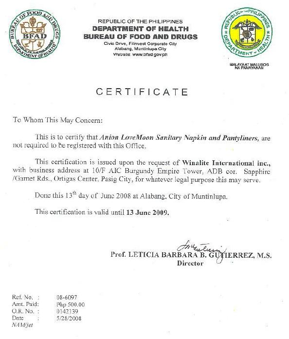 Bureau of Food and Drugs – Philippine certification ...